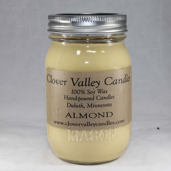 Almond Pint soy wax candle by Clover Valley Candles