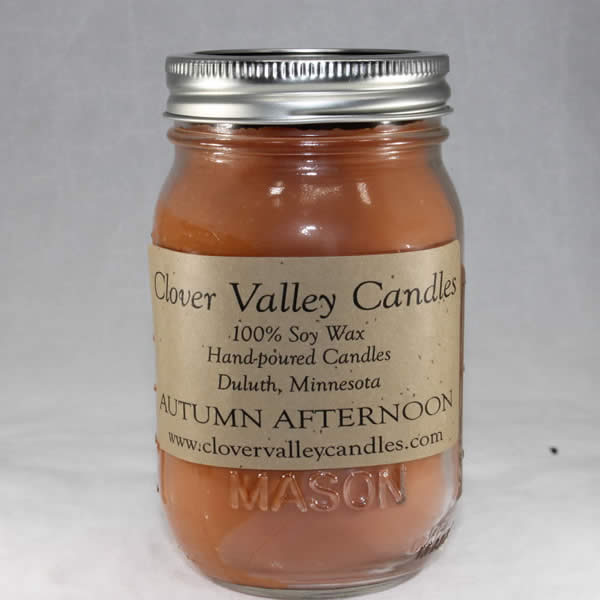 Autumn Afternoon Pint soy wax candle by Clover Valley Candles