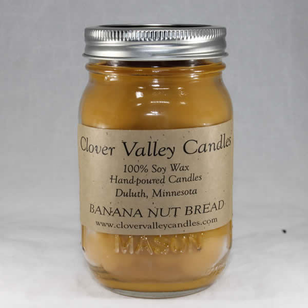 Banana Nut Bread Pint soy wax candles by Clover Valley Candles