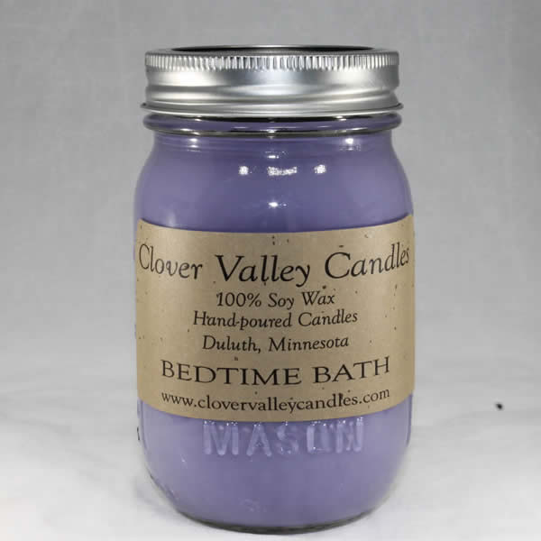 Bedtime Bath Pint soy wax candle by Clover Valley Candles