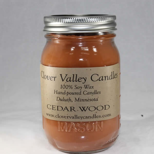 Cedarwood Pint soy wax candle by Clover Valley Candles