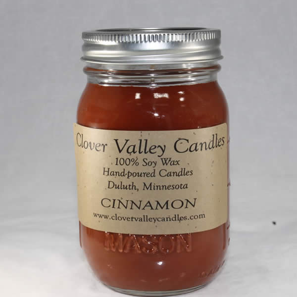 Cinnamon Pint soy wax candle by Clover Valley Candles