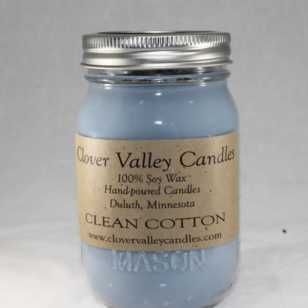 Clean Cotton Pint soy wax candle by Clover Valley Candles
