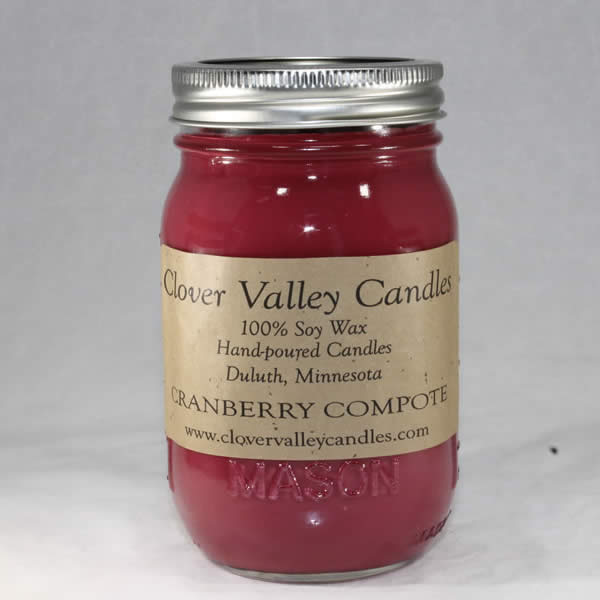 Cranberry Compote Pint soy wax candle by Clover Valley Candles