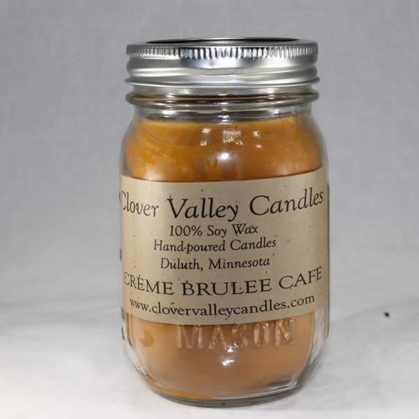 Creme Brulee Cafe Pint soy wax candle by Clover Valley Candles