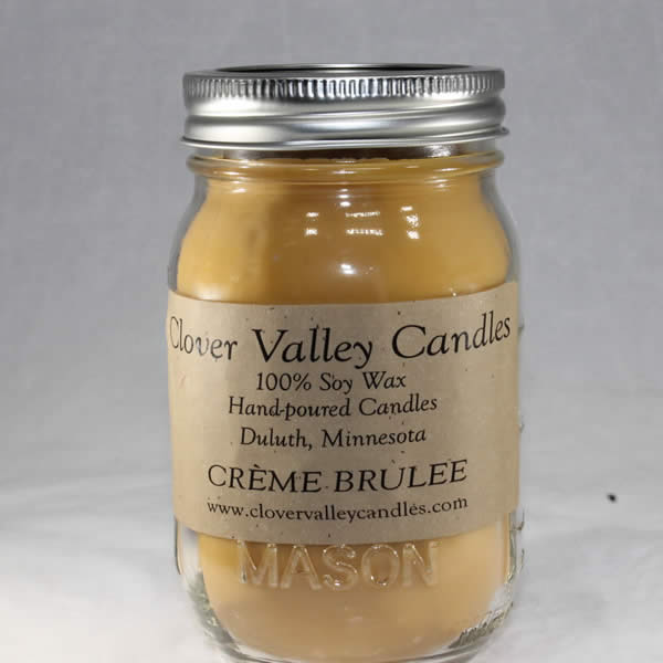 Creme Brulee Pint soy wax candle by Clover Valley Candles