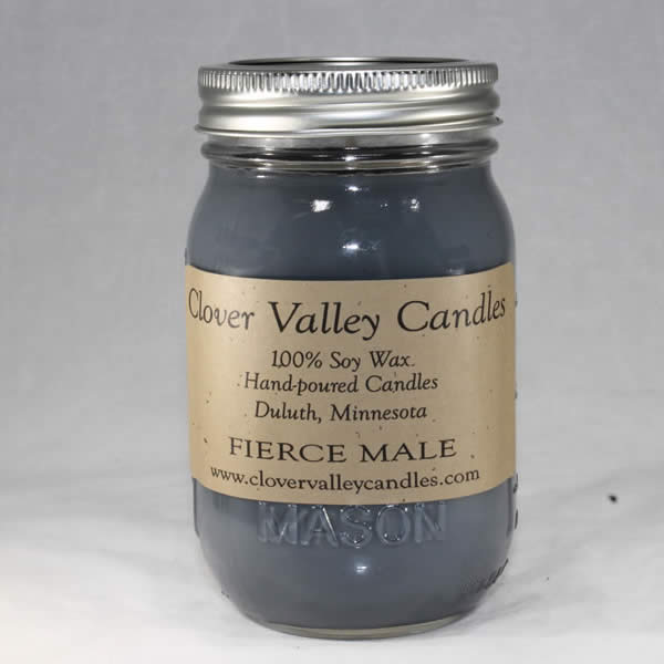 Fierce Male Pint soy candle by Clover Valley Candles