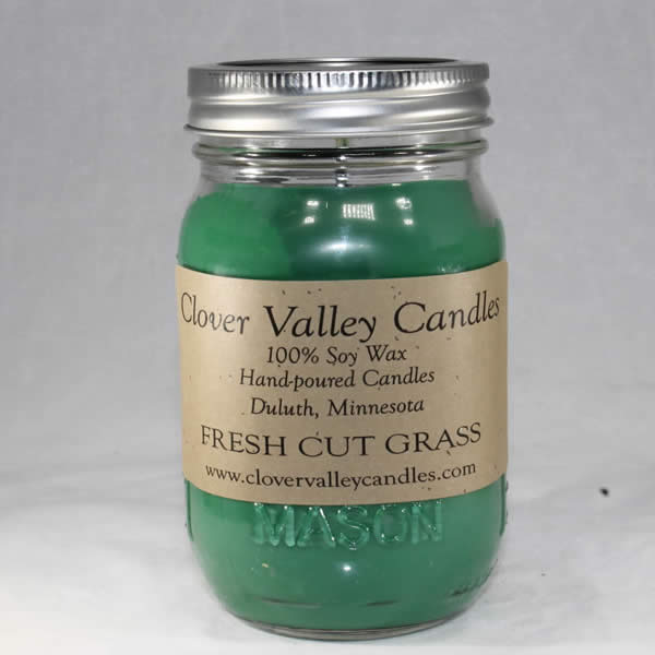 Fresh Cut Grass Pint soy candle by Clover Valley Candles