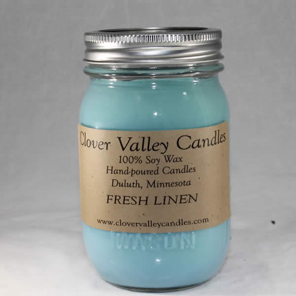 Fresh Linen Pint soy candle by Clover Valley Candles