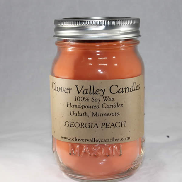 Georgia Peach Pint soy wax candle by Clover Valley Candles