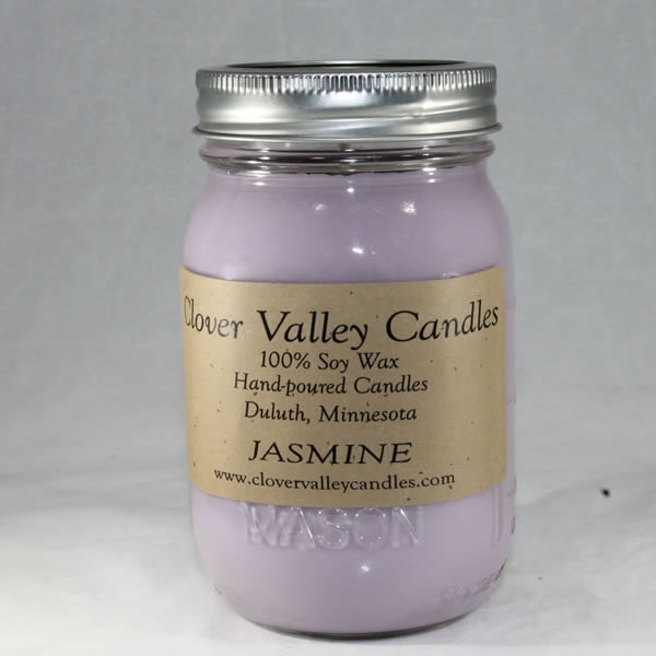 Jasmine Pint soy wax candle by Clover Valley Candles