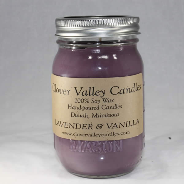Lavender & Vanilla Pint soy wax candle by Clover Valley Candles