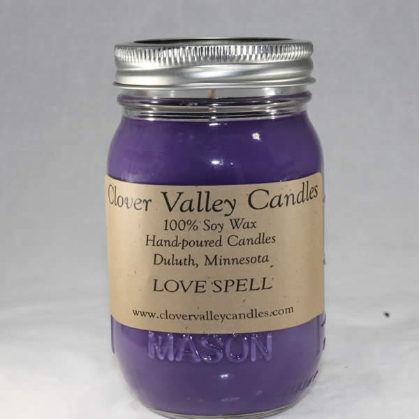 Love Spell Pint soy wax candle by Clover Valley Candles