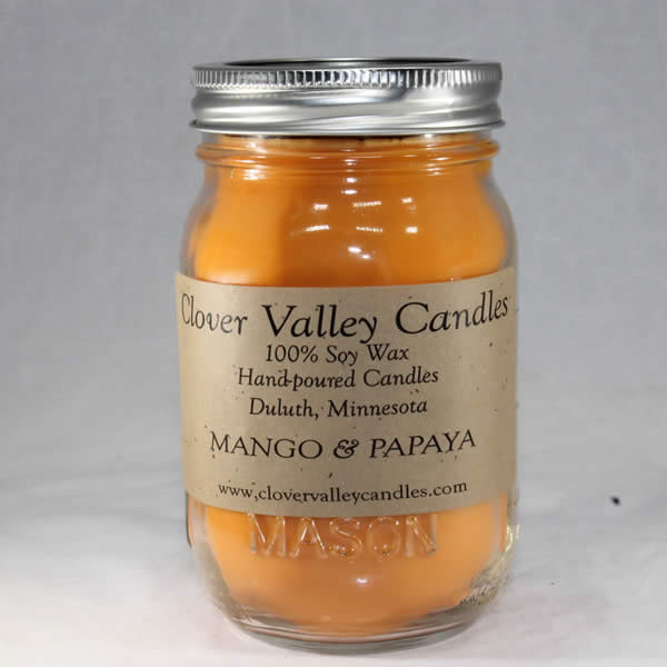 Mango & Papaya Pint soy wax candle by Clover Valley Candles
