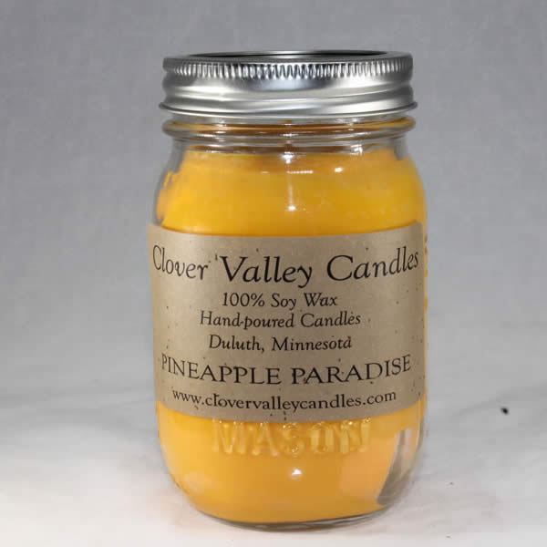 Pineapple Paradise Pint soy wax candle by Clover Valley Candles