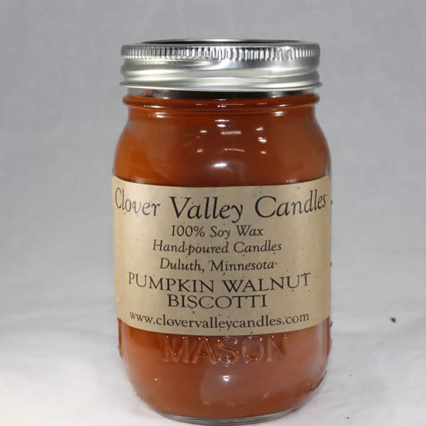 Pumpkin Walnut Biscotti Pint soy wax candle by Clover Valley Candles
