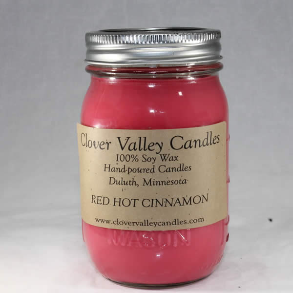 Red Hot Cinnamon Pint soy wax candle by Clover Valley Candles
