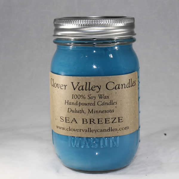 Sea Breeze Pint soy wax candle by Clover Valley Candles.