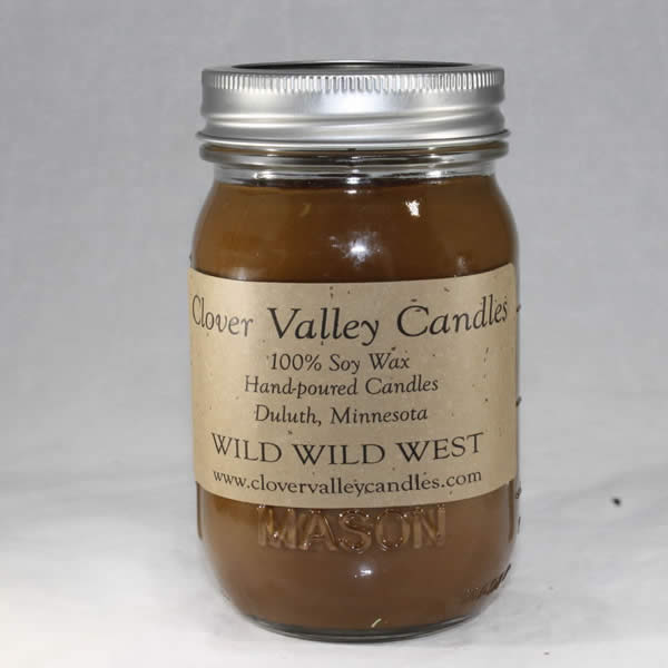 Wild Wild West Pint soy wax candle by Clover Valley Candles