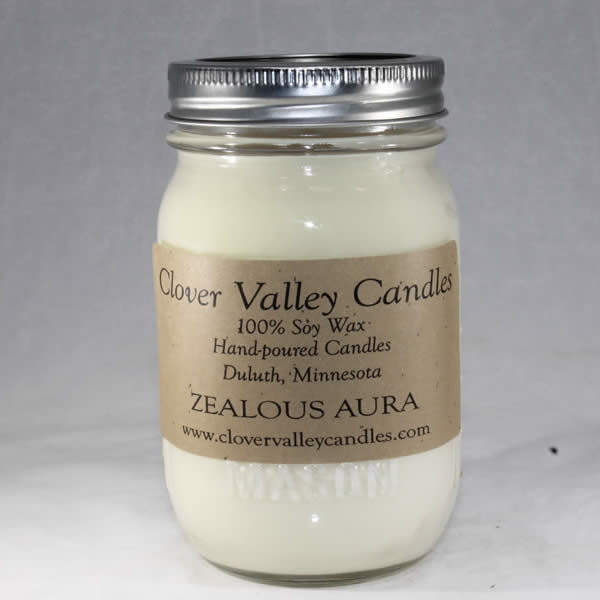 Zealous Aura Pint soy wax candle by Clover Valley Candles